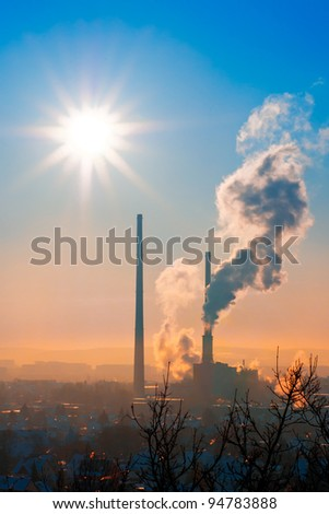 Thermal power station in Jena, Thuringia, Germany - stock photo