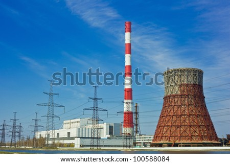Thermal power stations and power lines on a clear day