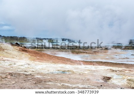 Thermal springs. Iceland. - stock photo
