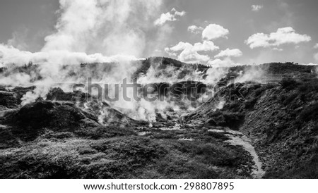 thermal wonderland at lake taupo in black white - stock photo