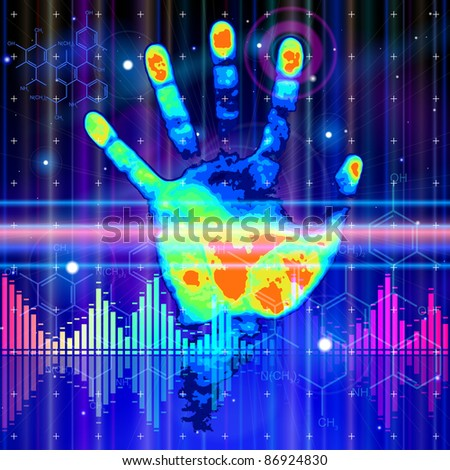 Thermall handprint, blue technology background, lights, chemical formulas & digital wave. Bitmap copy my vector ID 72681946