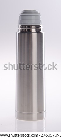 Thermo flask on the white background - stock photo