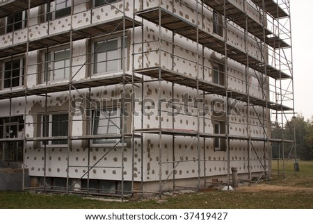 Thermo insulation on a building - stock photo