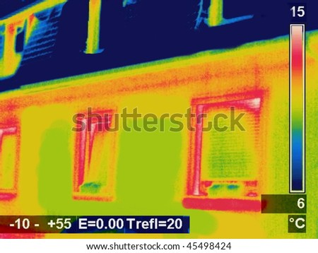 Thermographic picture of a house - stock photo