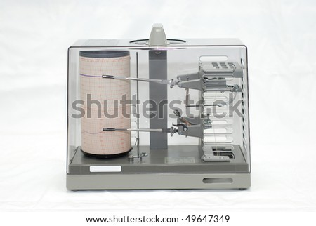 Thermohygrograph on white background - stock photo