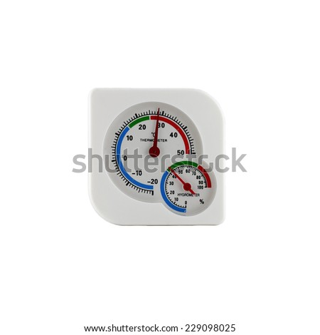 thermometer and hygrometer on white paper.  - stock photo