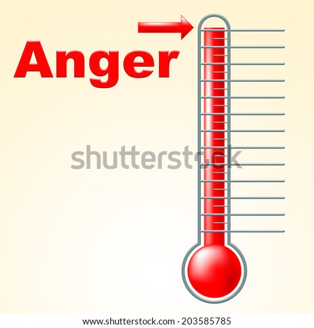 Thermometer Anger Showing Angry Cross And Celsius - stock photo