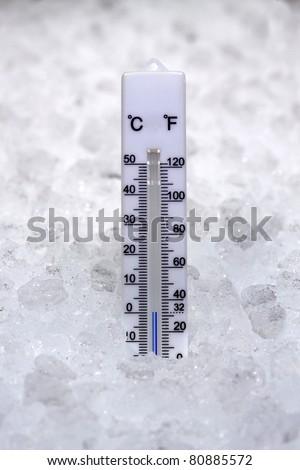 Thermometer at zero degrees - stock photo
