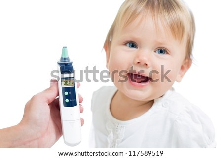 Thermometer displaying 36,6 Celsius degrees on happy kid background. Concept of healthy baby. - stock photo