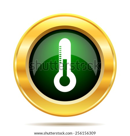Thermometer icon. Internet button on white background.  - stock photo