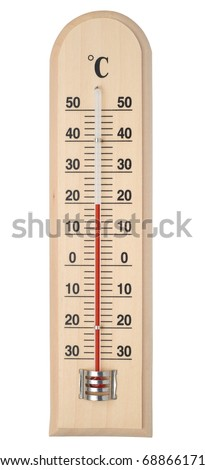 Thermometer isolated on white with paths. - stock photo