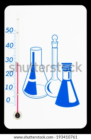 Thermometer on the against white background with test tubes for writing the
