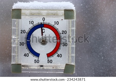 thermometer outdoors snow winter cold snap - stock photo