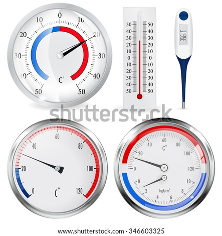 Thermometer. Raster version. Illustration isolated on white. - stock photo