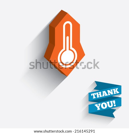 Thermometer sign icon. Temperature symbol. White icon on orange 3D piece of wall. Carved in stone with long flat shadow. - stock photo