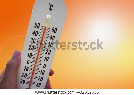 thermometer with hot temperature weather