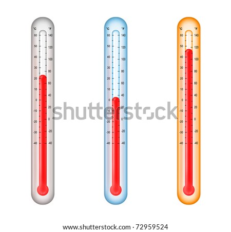 thermometers with medium, cold, and hot temperatures - stock photo