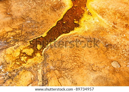 Thermophilic bacteria thrive in the hot springs of the Upper Geyser Basin at Yellowstone National Park - stock photo