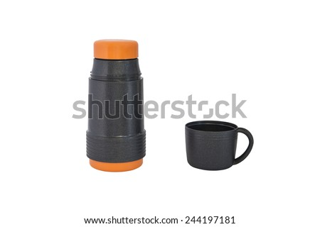 thermos bottle isolated on a white background - stock photo
