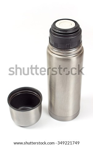 Thermos flask isolated on white  - stock photo