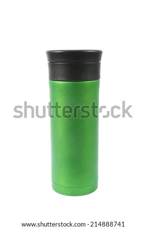 Thermos  isolated on white background - stock photo