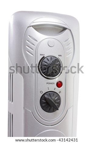thermostat of the electric oil heater. Isolated over white - stock photo
