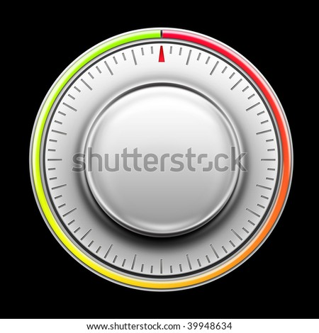 Thermostat on the Black background. 2D artwork. Computer Design