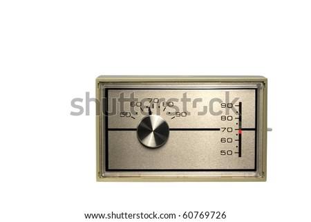 Thermostat set to 68 degrees isolated on white - stock photo