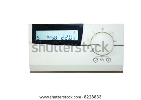 thermostat which indicates 22 degrees celsius - stock photo