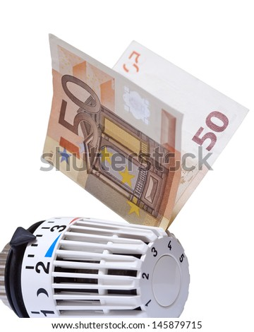Thermostat with 50 euro. Heating costs  - stock photo