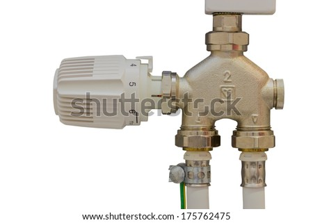 Thermostatic valves maintain the space temperature by controlling the flow of hot water or steam to the room. Isolated on white with clipping path.   - stock photo