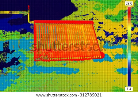 Thermovision image of Vacuum solar water heating system - stock photo