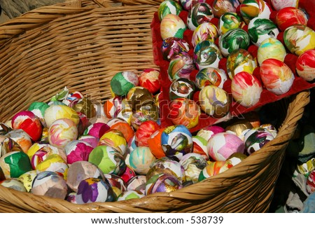 "These are ""cascarones,"" confetti-filled eggs, used for celebration at the Old Spanish Days fiesta in Santa Barbara, California. Can be used to illustrate, ""Don't put all your eggs in one basket."" - stock photo"