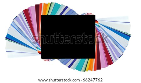 These are plastic and transparent colors to place over your camera flash, but they look like normal color swatches. - stock photo