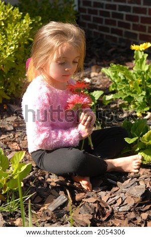 These are Pretty - A little girl admiring the flowers she picked from the garden - stock photo