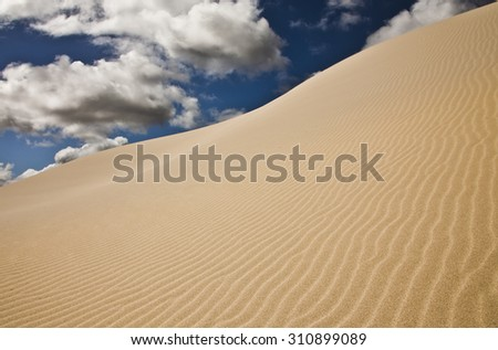 These are the Eucla Dunes in the desert of Western Australia, 7 miles from the South Australian border. Eucla is believed to originate from the Aboriginal word Yinculyer referring to Venus.  - stock photo