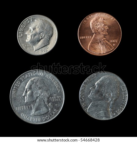 These are the four standard American coins that are commonly used in the United States.