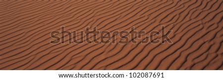 These are the pink sand dunes in Coral Pink Sand Dunes State Park. There are line patterns in the sand from the wind. - stock photo