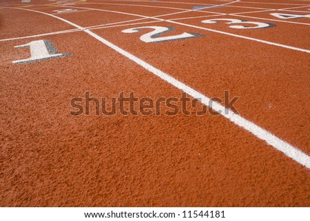 These are Track numbers on  Red Field - stock photo