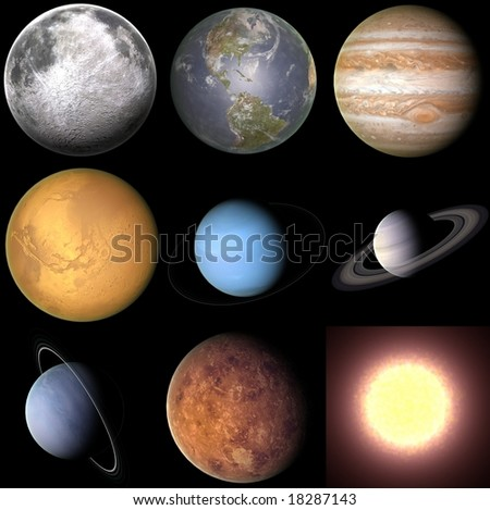 These are various Solar system objects each rendered at 1000 x 1000 pixels and then compiled into a single image. - stock photo