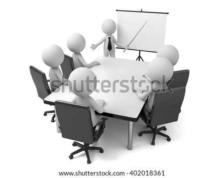 These 3d people are at meeting - stock photo