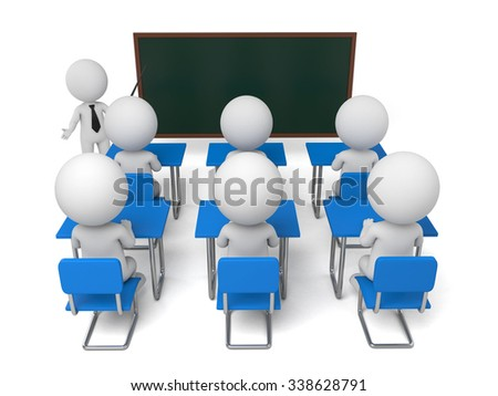 These 3D people are in the classroom - stock photo