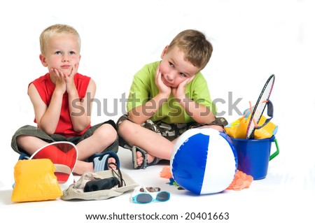 These kids are waiting and waiting for the summer holidays to come. It looks like ages to wait! - stock photo