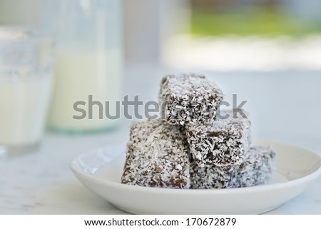 these lamington fingers are an all-year treat for many, but a necessity for Australia Day - stock photo
