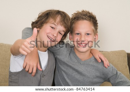 These two boys are best friends. Friends for life! - stock photo