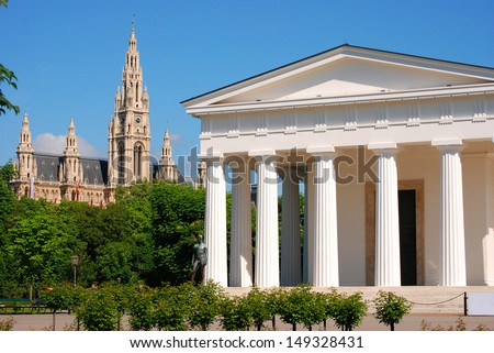 Theseus temple and townhall The Theseus temple and the townhall in Vienna.  - stock photo