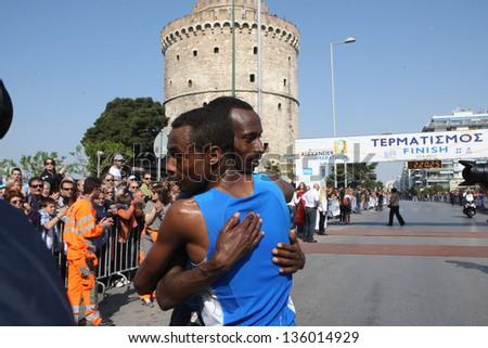 THESSALONIKI, GREECE - APRIL 21:Ethiopian marathon runners METAFERIA TEKLU GETO and TEFERA DEBAS ABATE 1st & 2nd on 8th Marathon Alexander the Great on April 21,2013 in Thessaloniki, Greece - stock photo