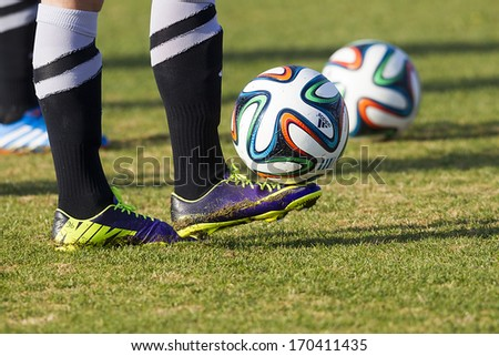 THESSALONIKI, GREECE - Jan 5 : Greek Superleague Brazuca (Mundial) balls during the training of PAOK on January 5, 2014 in Thessaloniki, Greece.