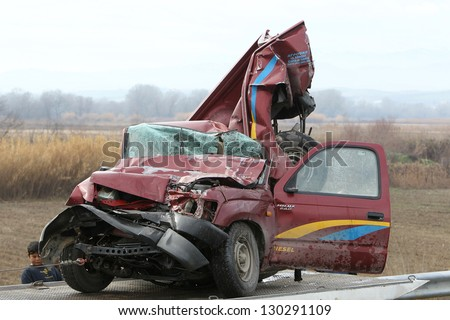THESSALONIKI,GREECE - JAN,22: 28 vehicle pile-up on the Egnatia motorway in Kleidi after the crash that occurred early today due to fog on 22 January, 2013. One woman died and 26 others where injured - stock photo