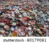 THESSALONIKI, GREECE - JANUARY 21: Crushed aluminum cans lie in a heap at an undisclosed recycling facility, The cans will be shipped to an aluminum foundry in Thessaloniki on January 21, 2011 - stock photo